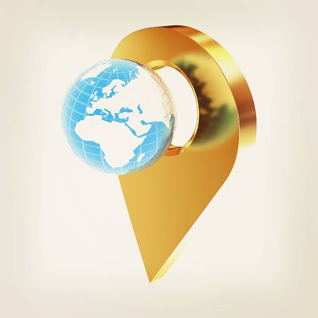 geolocation: Planet Earth and golden map pins icon on Earth. 3d illustration.