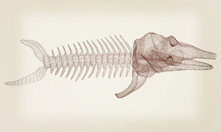 dead fish: Fish bone icon. 3d illustration.