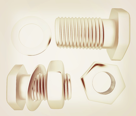 bolts and nuts: Screws and nuts set. 3d illustration.