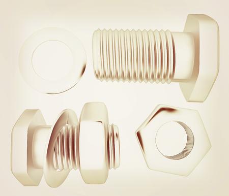 Screws and nuts set. 3d illustration.