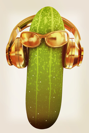 cucumbers: cucumber with sun glass and headphones front face on a white background. 3d illustration. Stock Photo