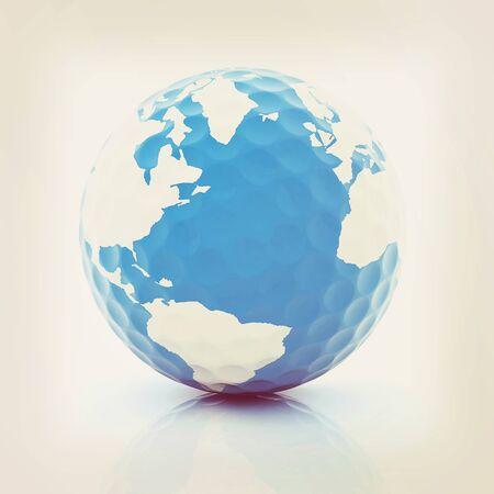 Conceptual 3d illustration. Golf ball world globe.