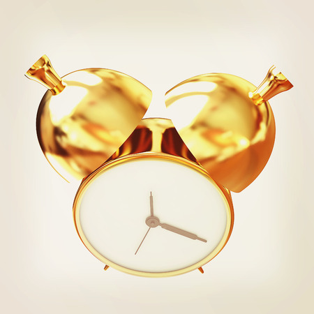 Old style of Gold Shiny alarm clock. 3d illustration.