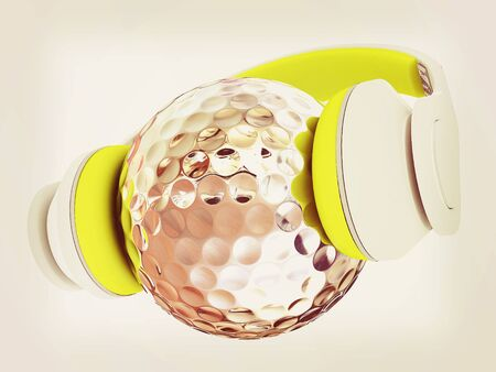 Metal Golf Ball With headphones. 3d illustration.