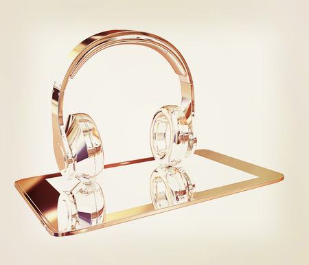music 3d: Smartphone with headphones. Chrome icon. 3d illustration. Stock Photo