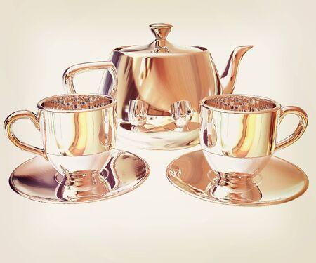 chrome: Chrome Teapot and mugs. 3d illustration. Stock Photo