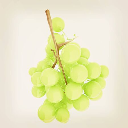 Healthy fruits Green wine grapes isolated white background. 3d illustration.