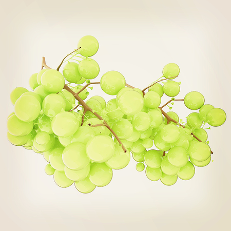 article icon: Healthy fruits Green wine grapes isolated white background. Stock Photo