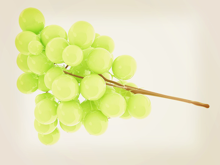 article icon: Healthy fruits Green wine grapes isolated white background. 3d illustration.