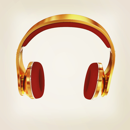 Golden headphones. 3d illustration.