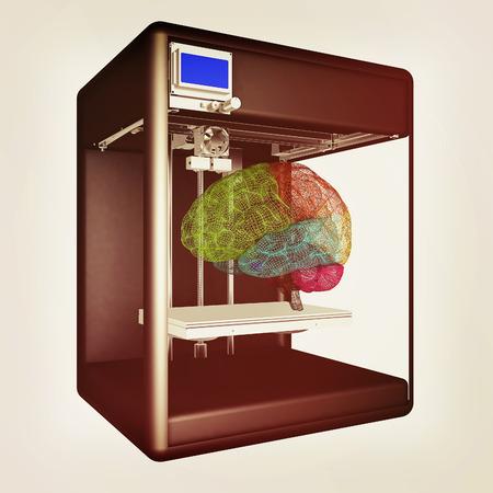 Medical 3d printer for duplication of human brain. 3D Bio-printer. 3d illustration.