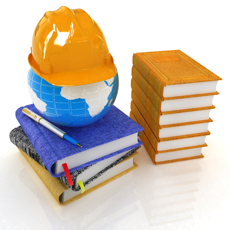 Global of working concept with Earth, leather books, notebooks and hard hat from above. 3d render Standard-Bild - 103737509