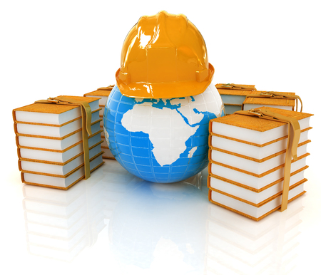 Earth in hard hat and books. 3d render