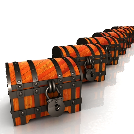 Chests. 3d illustration Stock Photo