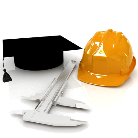 Hard hat, graduation hat and caliper. 3d render