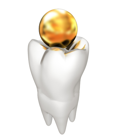 Tooth and sphere. 3d illustration