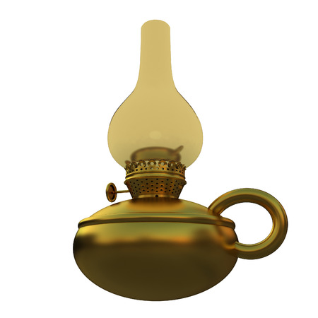 Old retro vintage golden kerosene lamp. 3d render Stock Photo