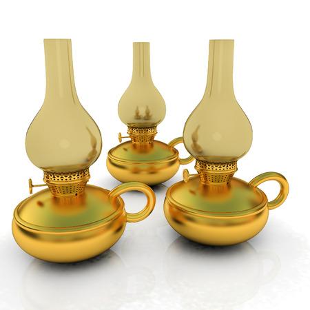 Old retro vintage golden kerosene lamp. 3d render Stock Photo