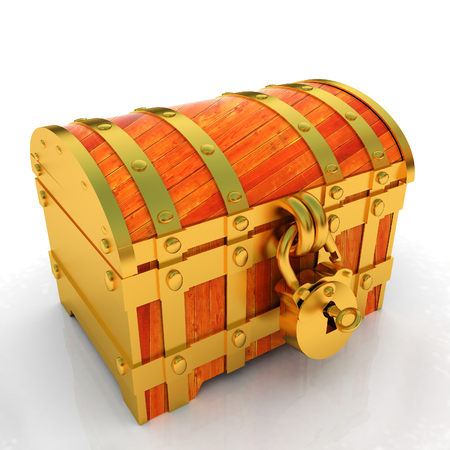 Gold chest. 3d render