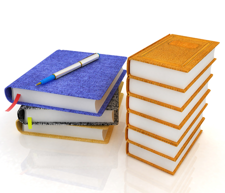Leather books and note. 3d render Stock Photo