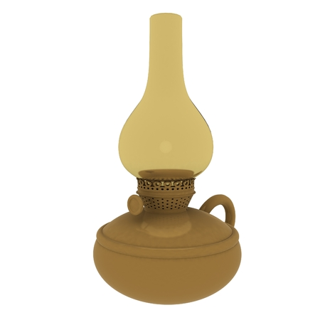 Old retro vintage kerosene lamp. 3d render