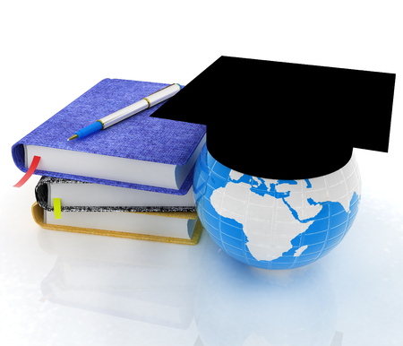 Notepads, pen and Earth in graduation hat. 3d render