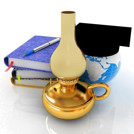 Notepads, pen, kerosene lamp and Earth in graduation hat. 3d render Stock Photo