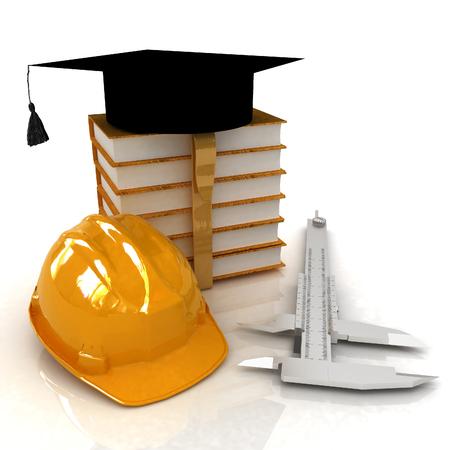 Hard hat, graduation hat, caliper and books. 3d render