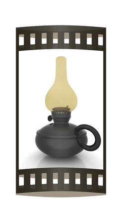Old retro vintage kerosene lamp. 3d render. Film strip.