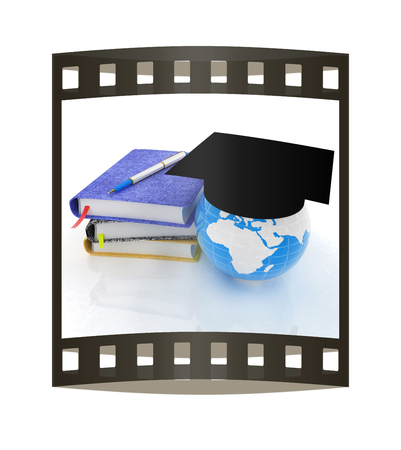 Notepads, pen and Earth in graduation hat. 3d render. Film strip.