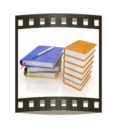 Leather books and note. 3d render. Film strip. Stock Photo