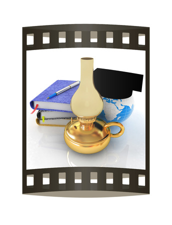 Notepads, pen, kerosene lamp and Earth in graduation hat. 3d render. Film strip.