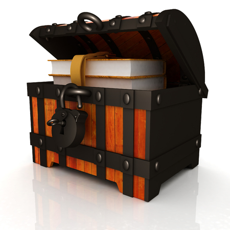 Leather Books in a Chest. 3d render