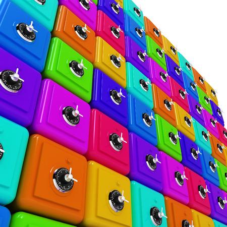 Many colorful safes. 3d render