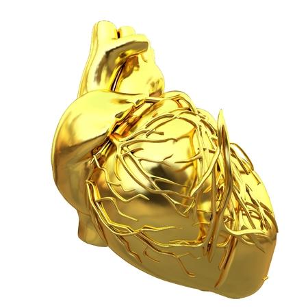 Golden anatomical heart. 3d render Stok Fotoğraf - 113189328