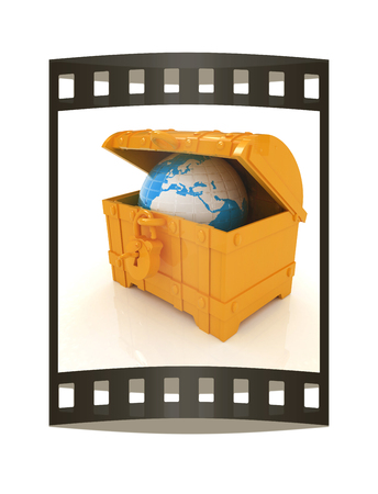 Earth in a chest. 3d illustration. Film strip.