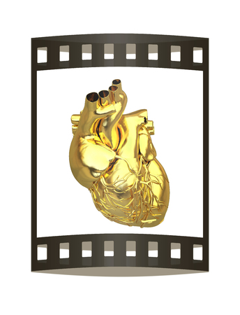 Golden anatomical heart. 3d render. Film strip. Stok Fotoğraf - 115400546