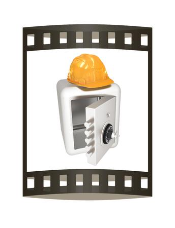 Safe and hard hat. Technology icon. 3d render. Film strip.