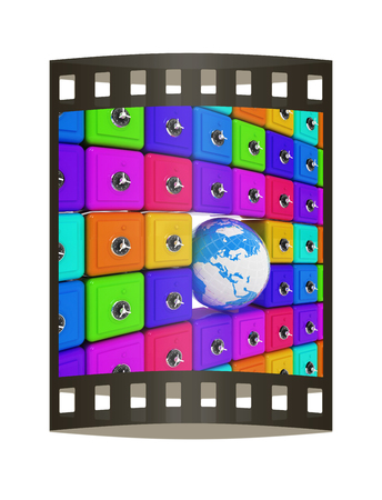 Earth and many safes. Global bancing online concept of money saving. 3d render. Film strip. Foto de archivo - 115400899