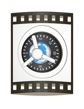 Earth and safe. Global bancing online concept of money saving. 3d render. Film strip.