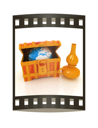 Earth in a chest and kerosene lamp. 3d illustration. Film strip.