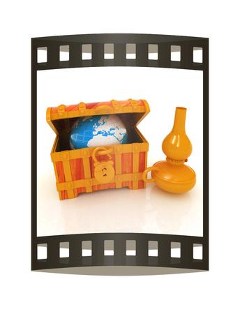 Earth in a chest and kerosene lamp. 3d illustration. Film strip.
