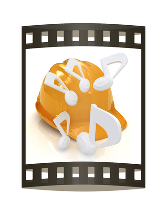 Music notes and hard hat. 3d render. Film strip. 写真素材