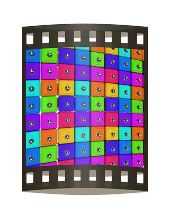 Many colorful safes. 3d render. Film strip.