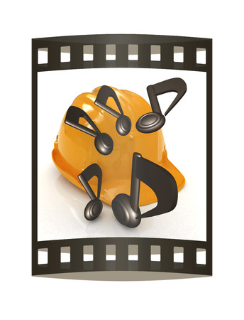 Music notes and hard hat. 3d render. Film strip. Imagens