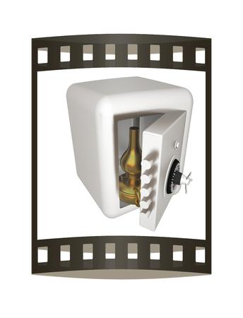 Gold retro kerosene lamp in safe. The concept of protection of rare values. 3d render. Film strip.