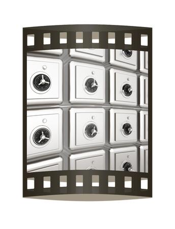 Many safes. 3d render. Film strip.