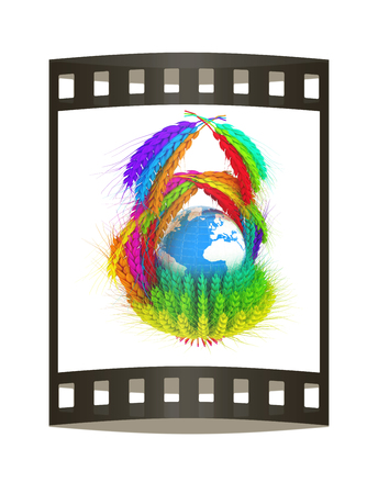 A colorful basket of wheat for Easter or Thanksgiving. Global concept with the earth ball inside. 3d render. Film strip. Stock Photo