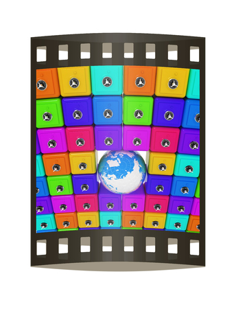 Earth and many safes. Global bancing online concept of money saving. 3d render. Film strip.