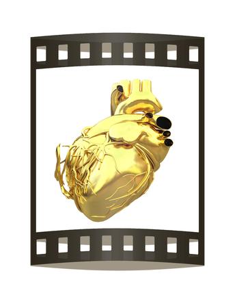 Golden anatomical heart. 3d render. Film strip. Stok Fotoğraf - 115551419